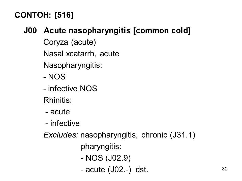 CONTOH: [516] J00 Acute nasopharyngitis [common cold] Coryza (acute) Nasal xcatarrh, acute. Nasopharyngitis: